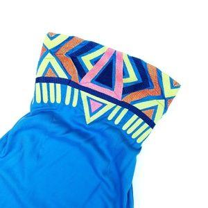 NWT Mara Hoffman Blue Embroidered Strapless Dress